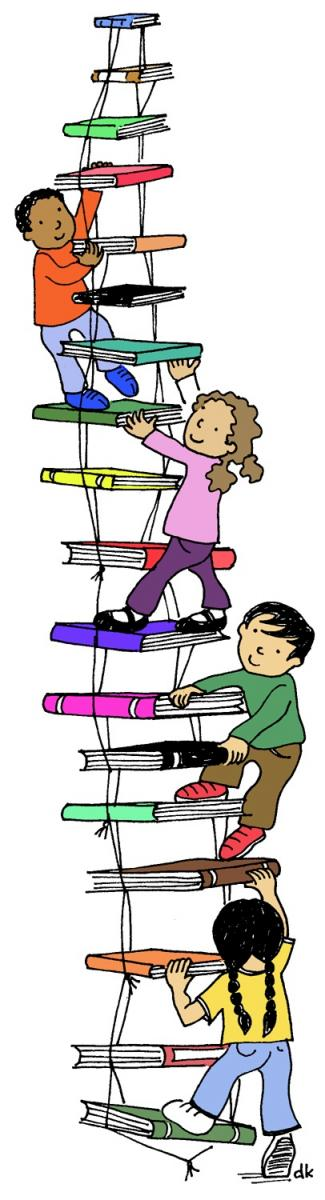kids on ladder