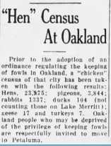 Hen Census at Oakland...