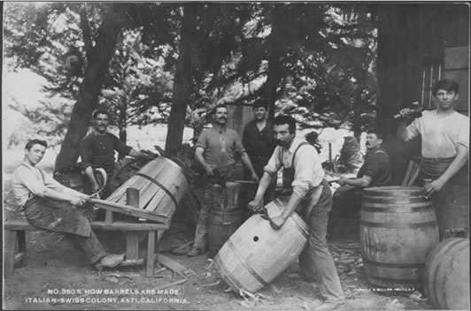 How barrels are made, Asti, California, post card, Turrill & Miller, ~1900-1920