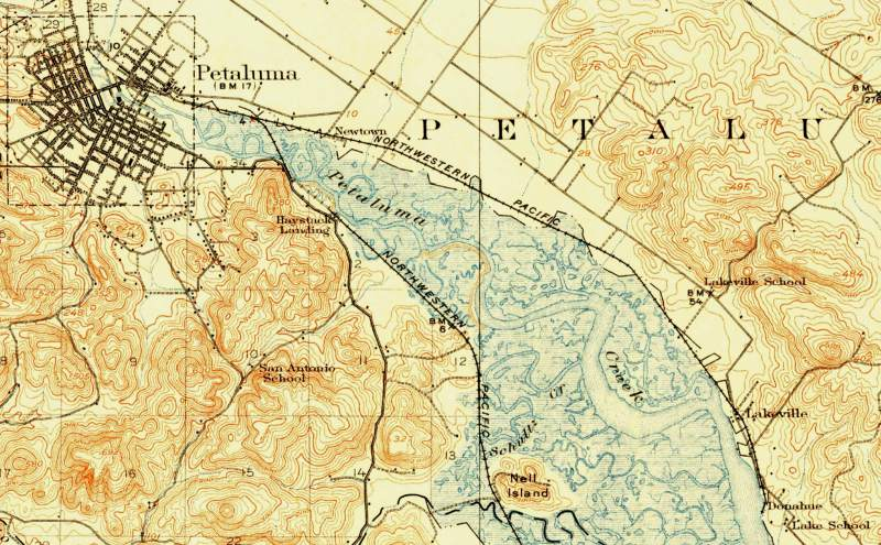 "Detail, U.S. Geological Survey ""Petaluma"" quadrangle, 1914. (U.S. Geological Survey)"