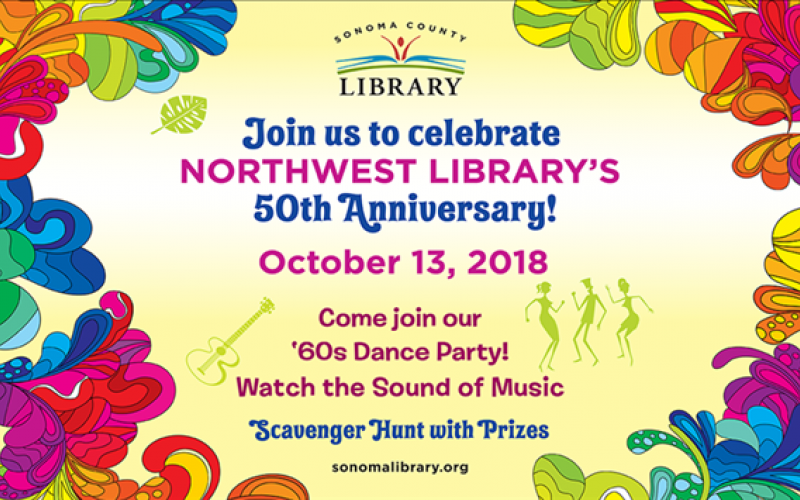 colorful flowers surround invitation to NOrthwest 50th Anniversary event on October 13