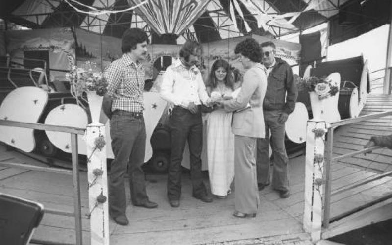 Bill Albert and Wendy Entz exchange marriage vows at the Sonoma County Fair on July 16, 1980. Photo taken by Chris Dawson for the Press Democrat (Santa Rosa, Calif.) photo