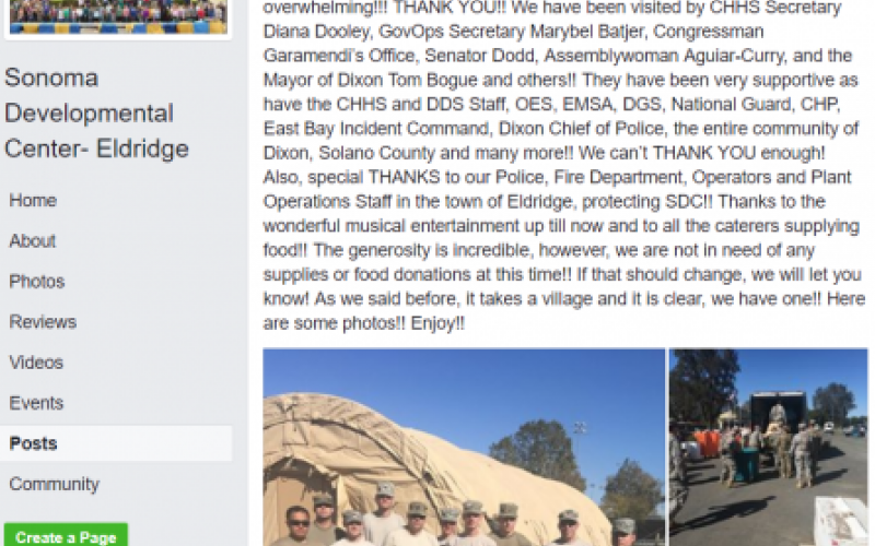 Facebook post of the Sonoma Developmental Center on October 15, 2017 from the North Bay Fires web archive photo