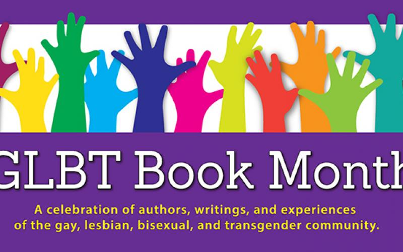"""rainbow hands with text """"GLBT Book Month"""""""