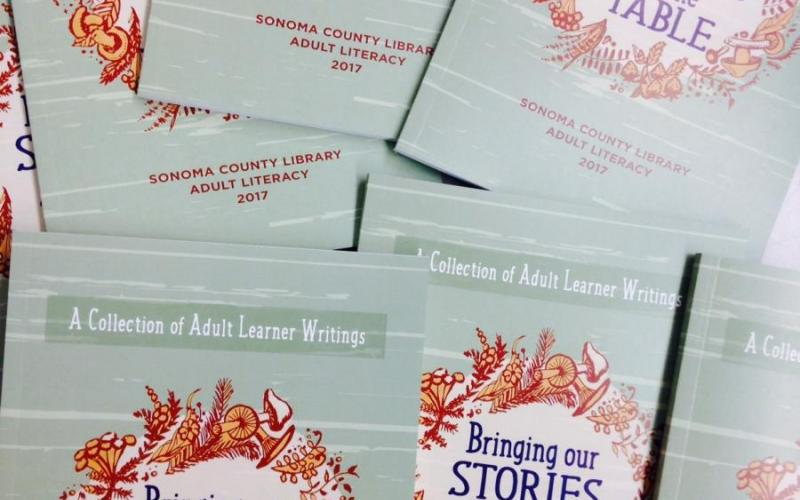 """pile of books with title text """"bringing our stories to the table"""""""