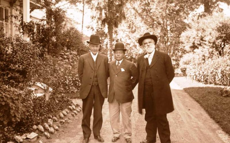 Luther Burbank with Kanaye Nagasawa and Edwin Markham at Fountaingrove, Santa Rosa, Calif. 1915