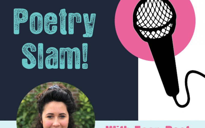 "picture of a microphone with text ""teen poetry slam with teen poet Estrella Pacheco"""