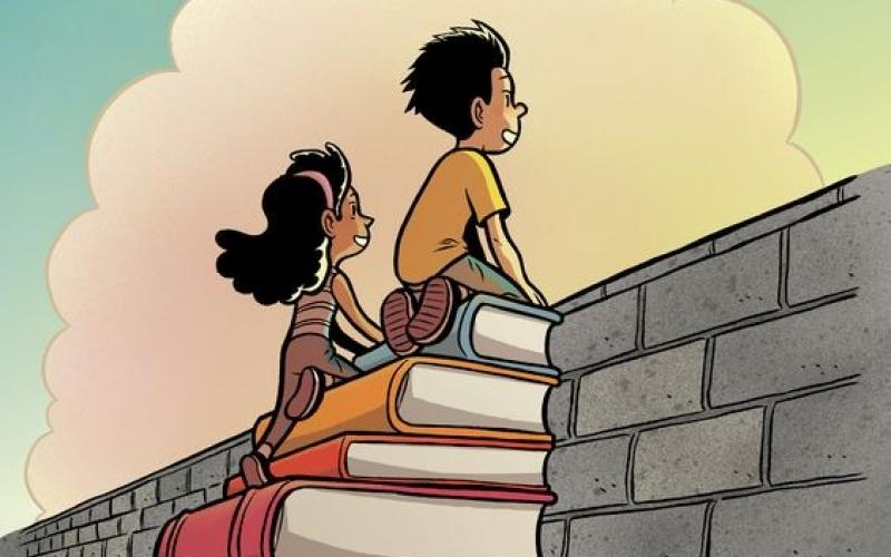 boy and girl climbing book stairs to look over a wall