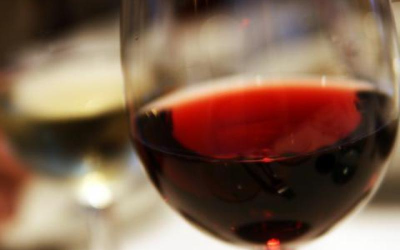 Red wine closeup in glass photo
