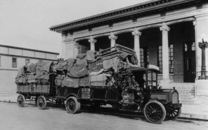 Lee Brothers Van & Storage parked in front of the Santa Rosa Post Office, circa. 1918 SCL Photo No. 30012 photo