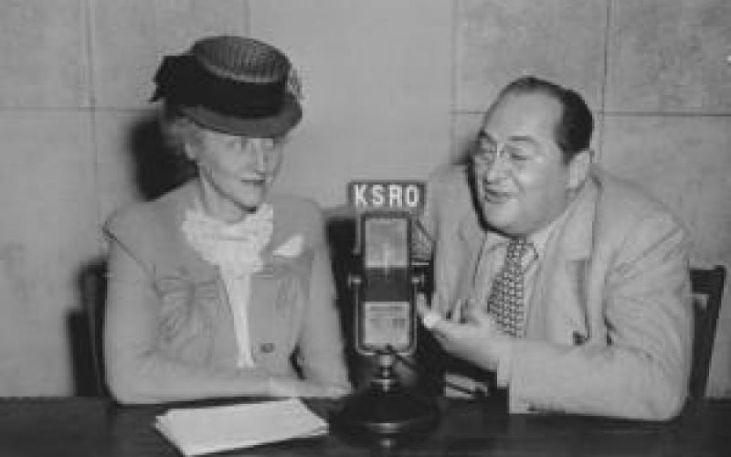 Harriet Parrish Barnes interviews actor Edward Arnold at KSRO, Santa Rosa, Calif. 1943. Photo courtesy of the Sonoma County Library (SCL Photo 30934) photo