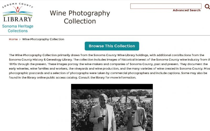 Screenshot of the Wine Photography collection on the Heritage Collections website