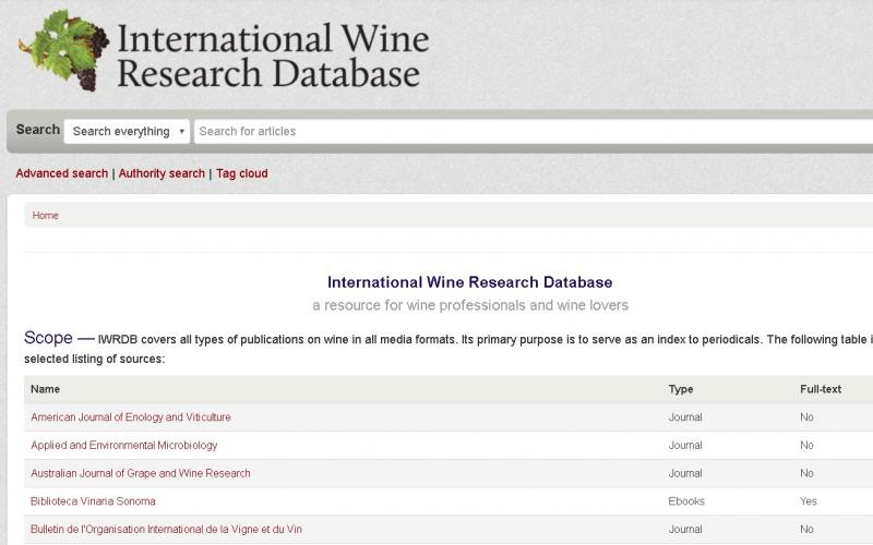 Screenshot of the IWRDB home page and search bar