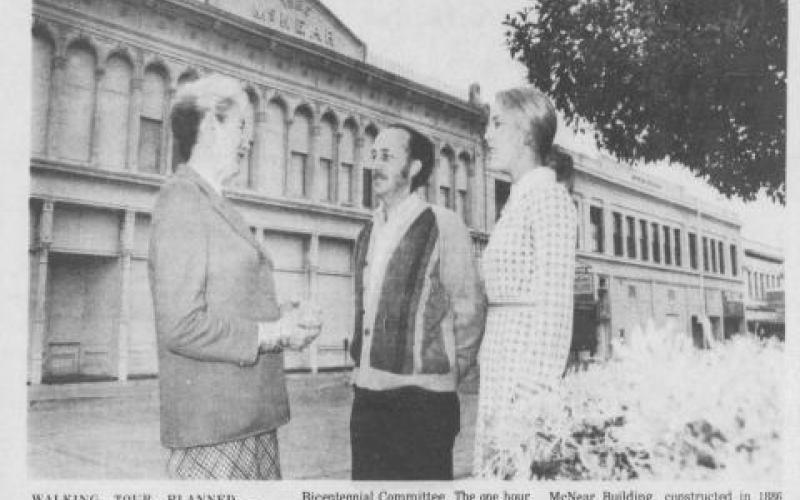 Helen Putnam discusses plan for walking tour with Fred Schram of Heritage Homes and Barbara Lind of the Bicentennial Committee. Photo taken by Ted G. Hansen. Petaluma Argus Courier May 8, 1975 photo