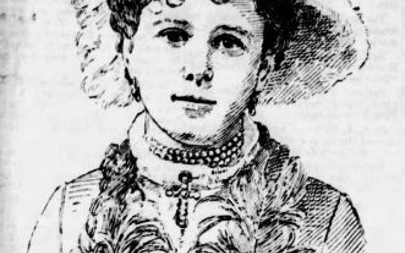 Sketch of Anna Morrison Reed courtesy of The Petaluma Courier, 2 September 1891 photo