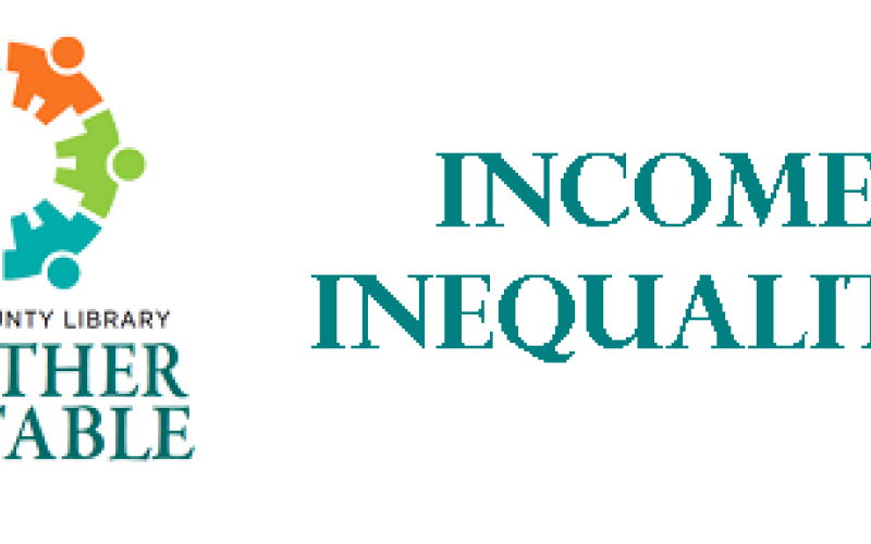 "together at the table logo with text ""income inequality"""