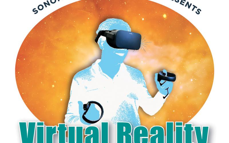 virtual reality, figure wearing VR viewer and holding controller