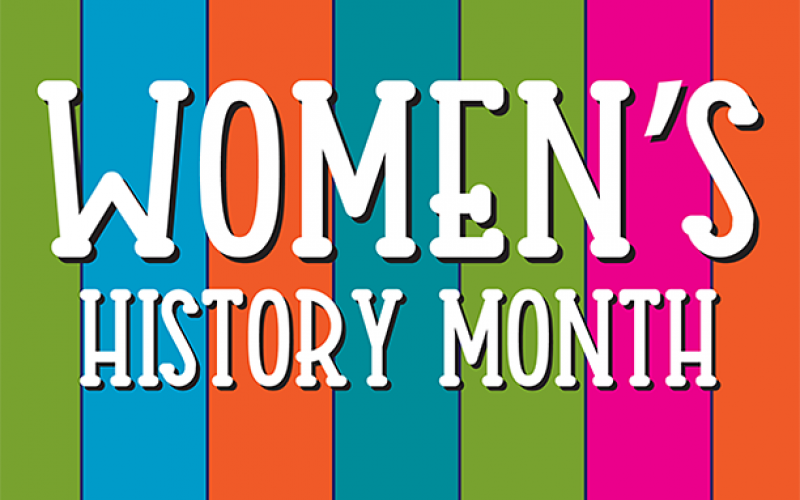 text: women's history month, over colored bars