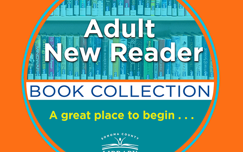 "blue circle on orange background, with text ""Adult New Reader Book Collection - a great place to start."""