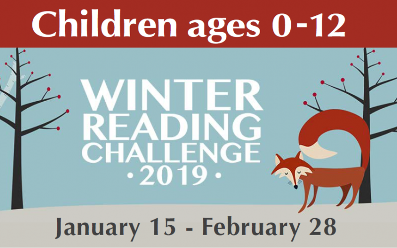 image of fox and trees with text Winter Reading Challenge 2019