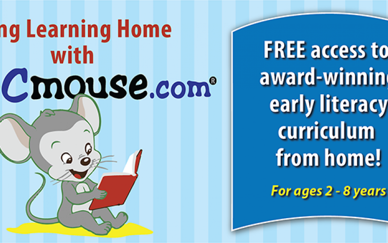 mouse reading book with text: Bring Learning Home with ABCmouse
