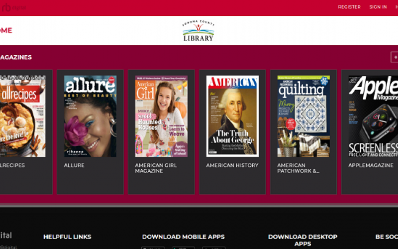rbdigital site with pictures of magazine covers
