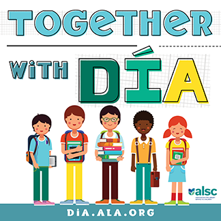 """text """"Together with Dia;"""" image of five children"""