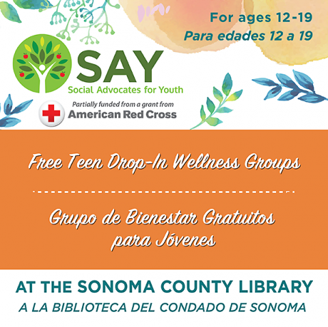 ogo for Social Advocates for Youth, with text: Free Drop-In Wellness Groups this Summer