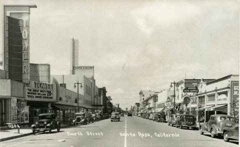 Post card view of the Tower Theater on Fourth Street, Santa Rosa
