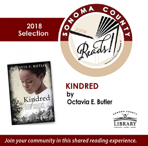 book cover Kindred with Sonoma County Reads logo