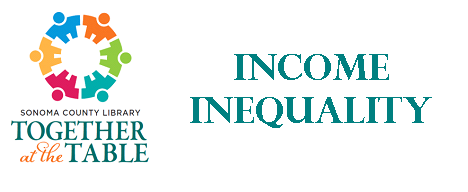 """together at the table logo with text """"income inequality"""""""