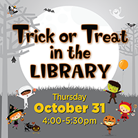 text: trick or treat in the library, with images of children in costumes