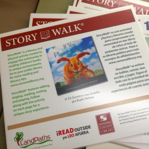 "sign for storywalk using book ""If You Plant a Seed"""